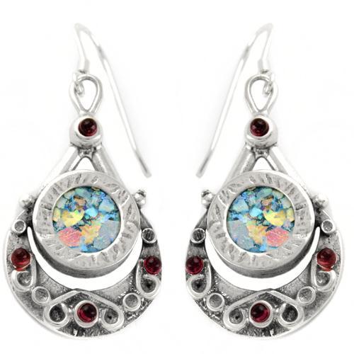 Sterling Silver Floral Garnet Roman Glass Earrings - Baltinester Jewelry