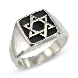 Sterling Silver Star of David Oxidized Ring - Baltinester Jewelry