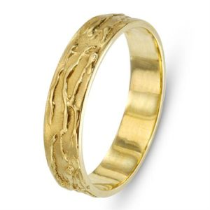 Slender 14k Gold Splash Style Wedding Ring - Baltinester Jewelry