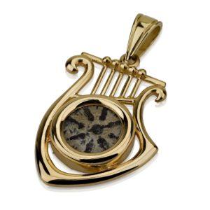 14k Yellow Gold Harp of David Maccabean Coin Pendant - Baltinester Jewelry