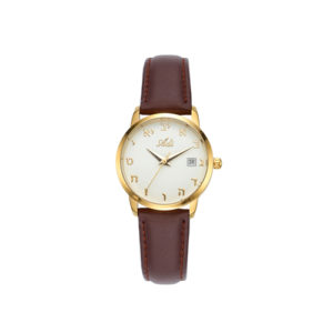 27 mm Classic Aleph Bet Watch Brown Leather Strap - Baltinester Jewelry