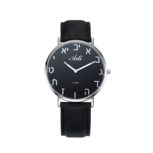 Black Dial 40 mm Aleph Bet Black Leather Strap Watch - Baltinester Jewelry