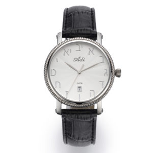35 mm Date Black Leather Strap Watch Bezel Detailing - Baltinester Jewelry