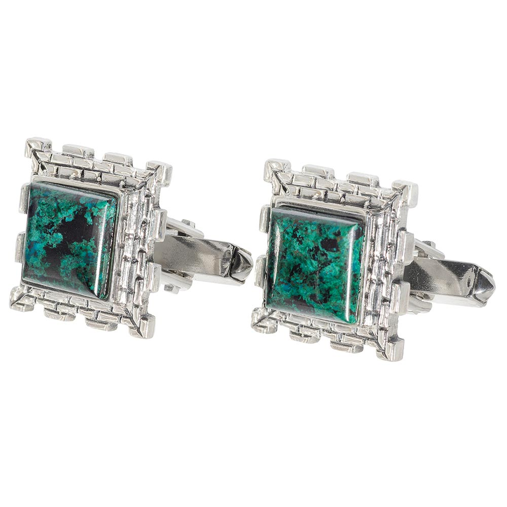 Fortified Wall Eilat Stone Square Silver Cufflinks - Baltinester Jewelry