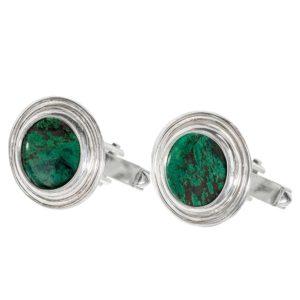 Eilat Stone Classic Round Sterling Silver Cufflinks - Baltinester Jewelry