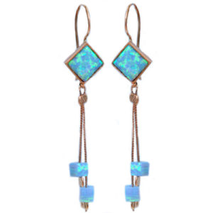 14k Rose Gold & Opalite Earrings - Baltinester Jewelry