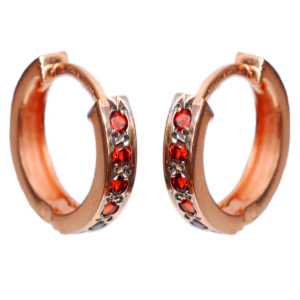 14k Rose Gold & Garnet Reversible Hoop Earrings - Baltinester Jewelry
