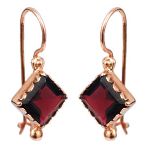 14k Rose Gold Garnet Earrings - Baltinester Jewelry