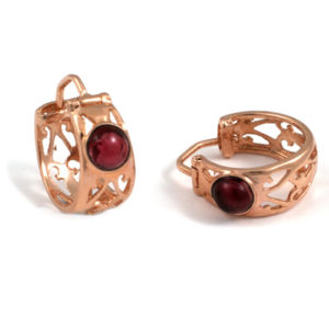 14k Rose Gold Gypsy Garnet Earrings - Baltinester Jewelry