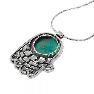 Eilat Stone Jerusalem Hamsa Hand Silver Necklace - Baltinester Jewelry
