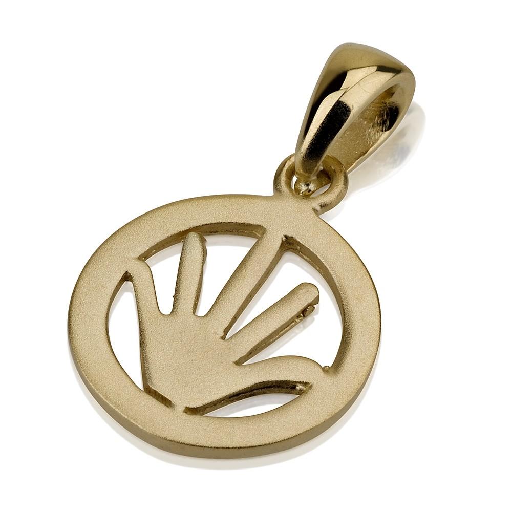 Fun Hamsa 14k Gold Matte Finish - Baltinester Jewelry