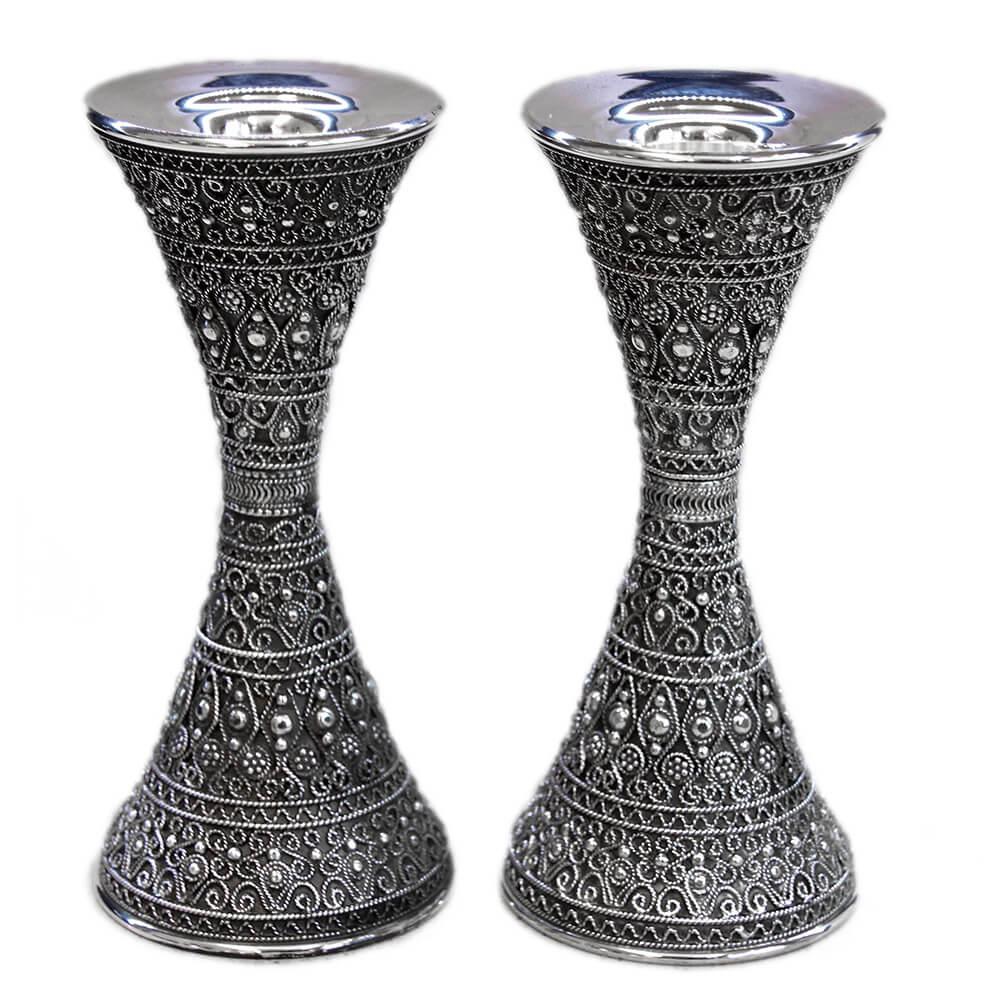 Beautiful Full Filigree Silver Candlesticks - Baltinester Jewelry