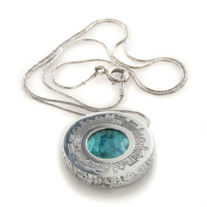 Jerusalem Skyline Eilat Stone Round Textured Silver Necklace - Baltinester Jewelry
