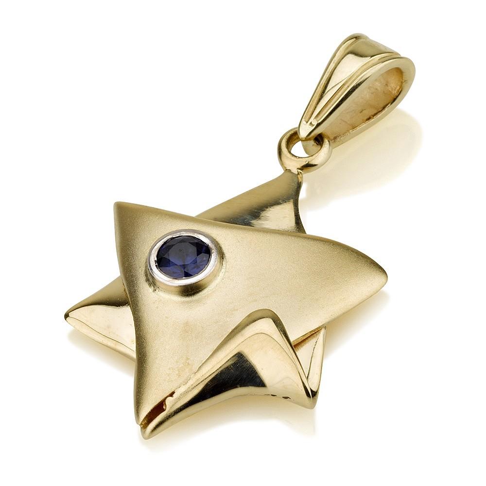 Star of David Blue Sapphire 14k Gold Jewish Pendant - Baltinester Jewelry