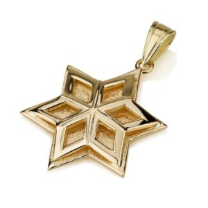 14k Gold Snowflake Star of David Pendant - Baltinester Jewelry