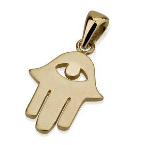 Minimalist Evil Eye Hamsa Gold Pendant - Baltinester Jewelry