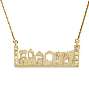City of Jerusalem Cutout 14k Yellow Gold Pendant - Baltinester Jewelry