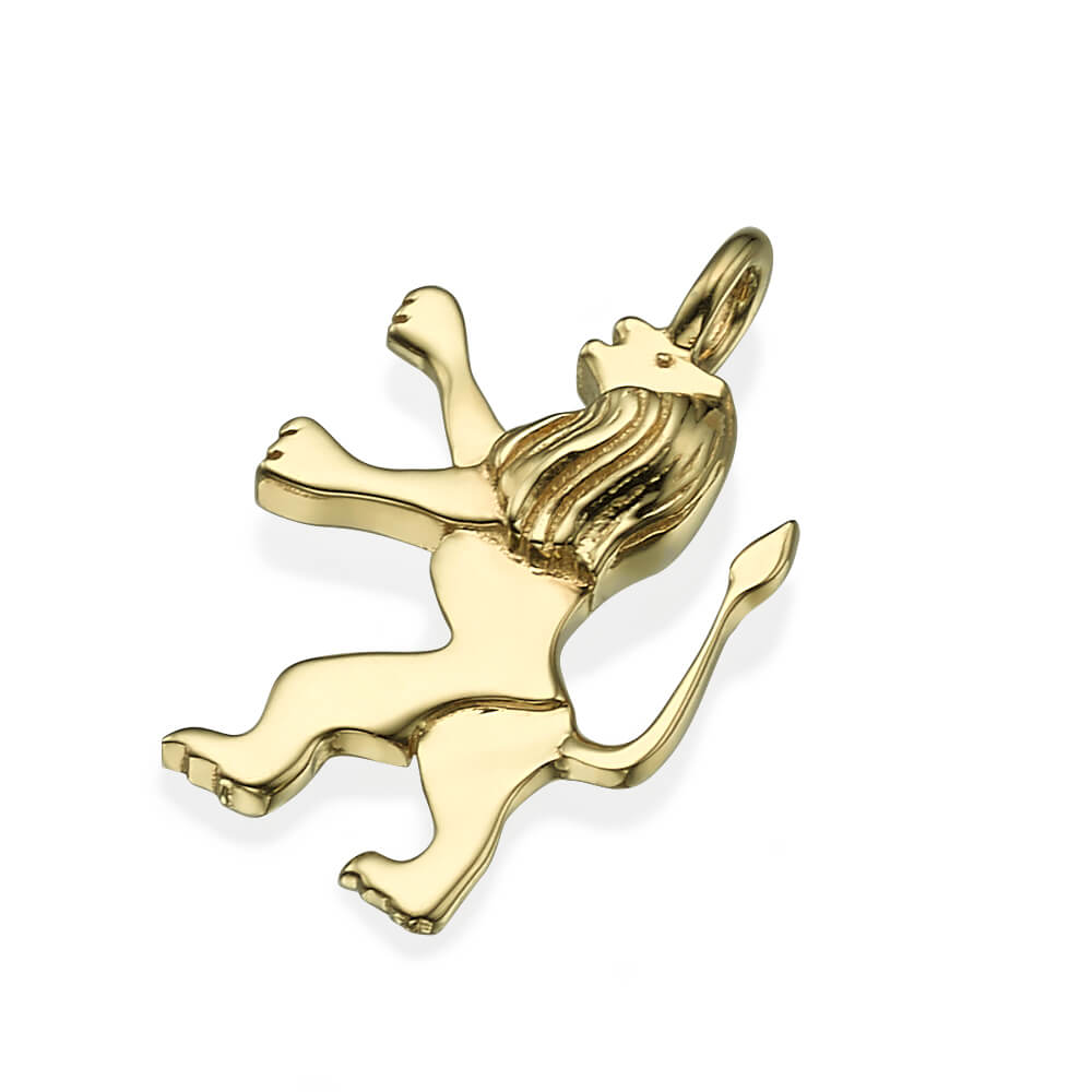 Tiny 14k Yellow Gold Tribe of Judah Lion Pendant - Baltinester Jewelry