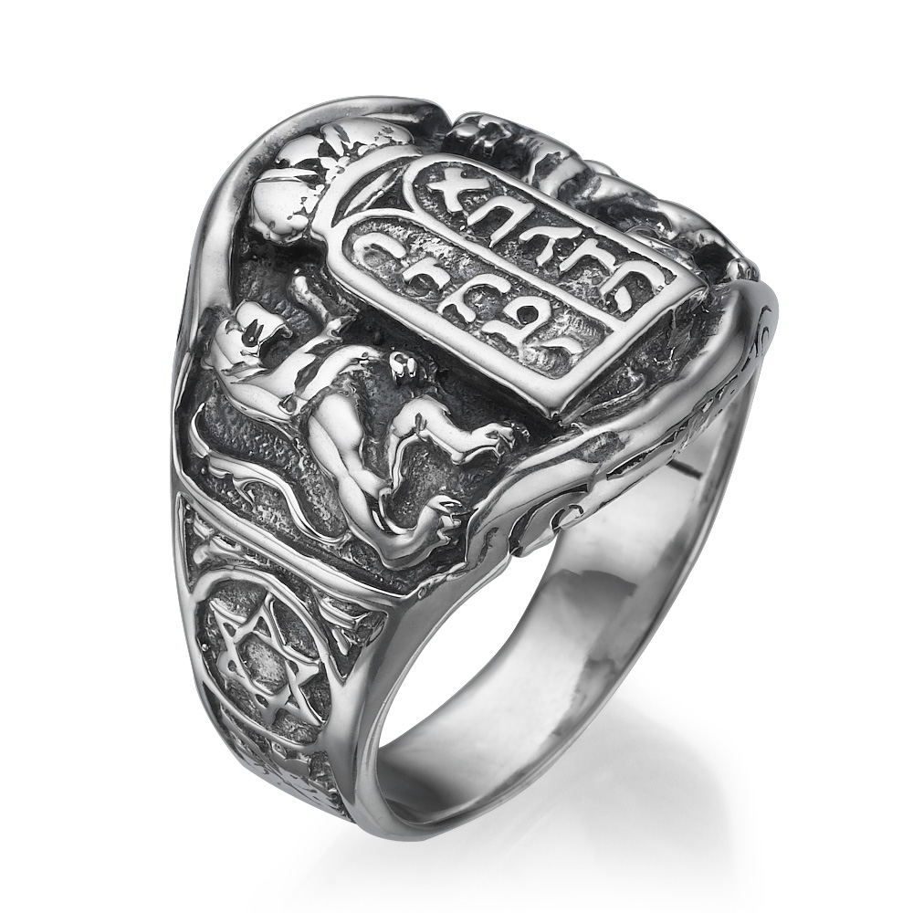 Ten Commandments Lion of Judah Silver Men's Ring - Baltinester Jewelry