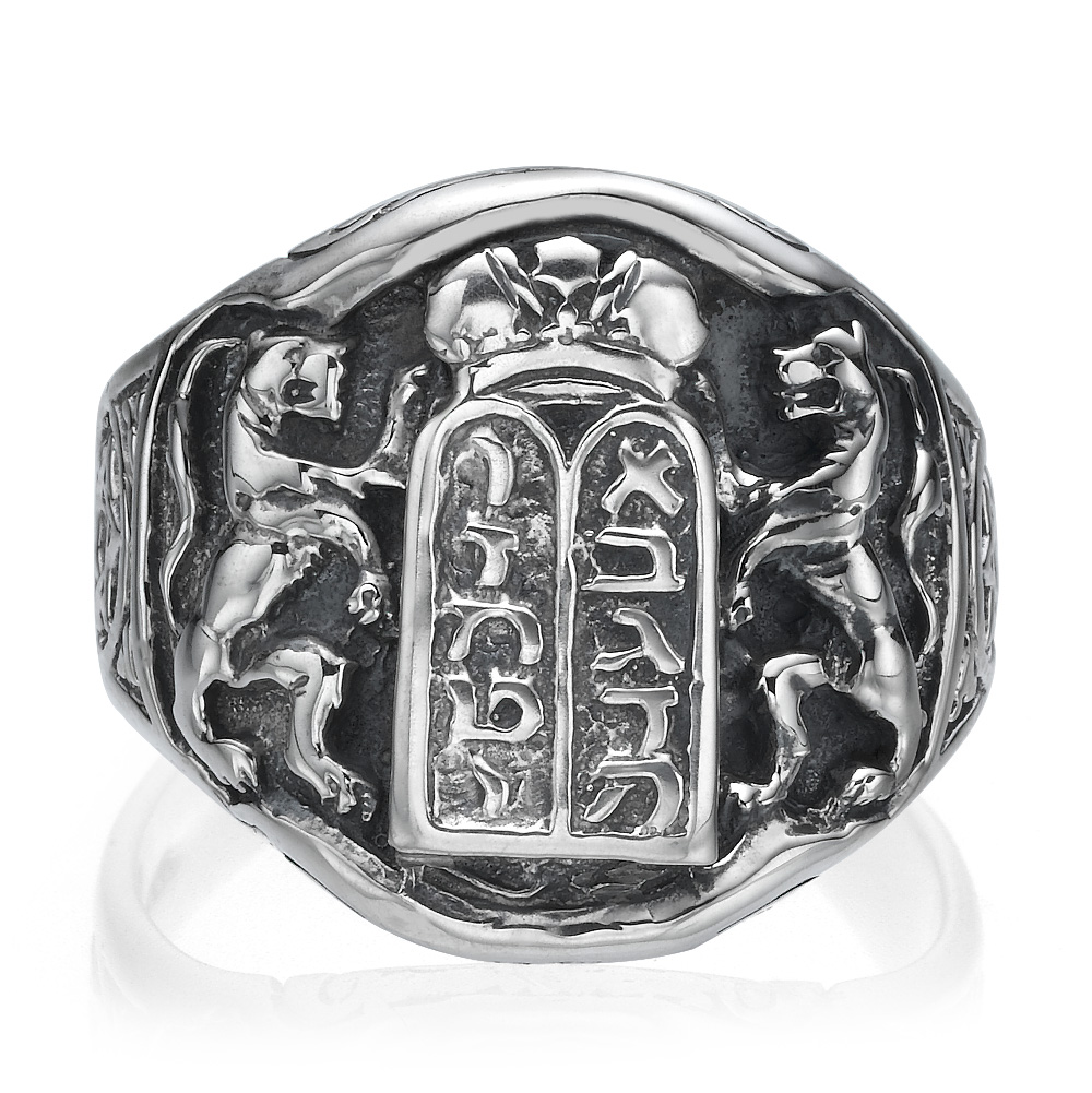 Ten Commandments Lion of Judah Silver Men's Ring 2 - Baltinester Jewelry