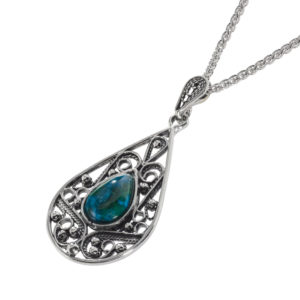 Yemenite Pear Shaped Eilat Stone Silver Necklace - Baltinester Jewelry
