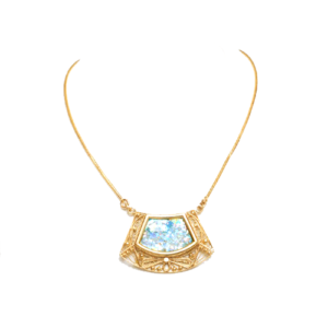 14k Roman Glass Trapezoid Gold Filigree Necklace - Baltinester Jewelry