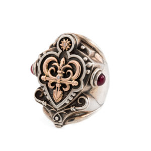 Silver Ring for Men With Gold and Diamonds - Baltinester Jewelry