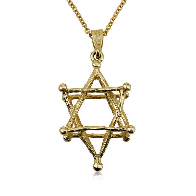 14k Gold Kabbalah Star of David Pendant - Baltinester Jewelry