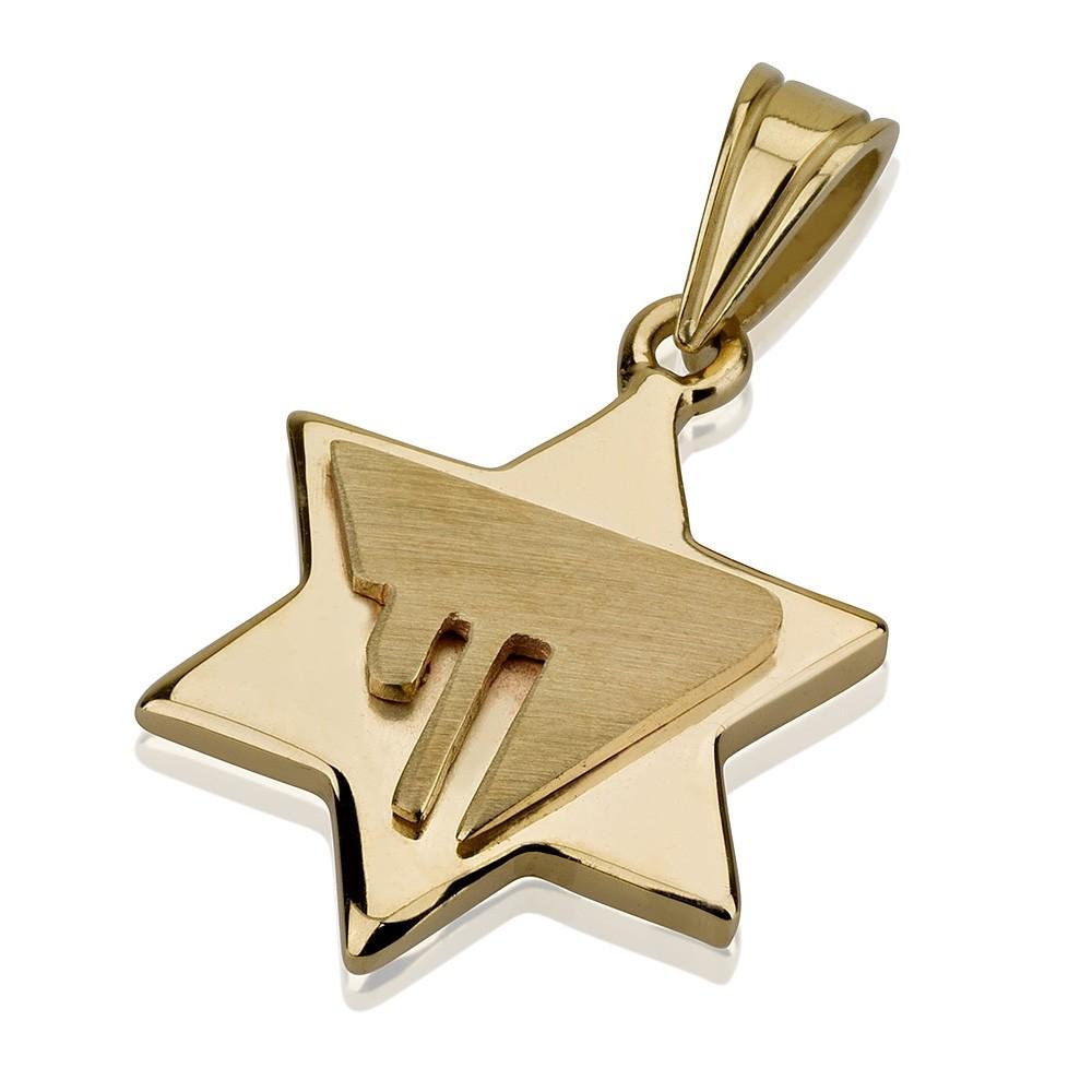 Hai Embossed Star of David 14k Pendant - Baltinester Jewelry