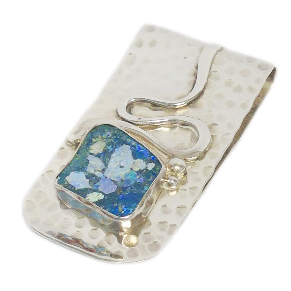 Hammered Silver Roman Glass Money Clip - Baltinester Jewelry