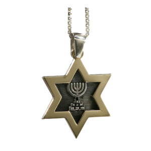 Gold and Silver Star of David Menorah Pendant - Baltinester Jewelry