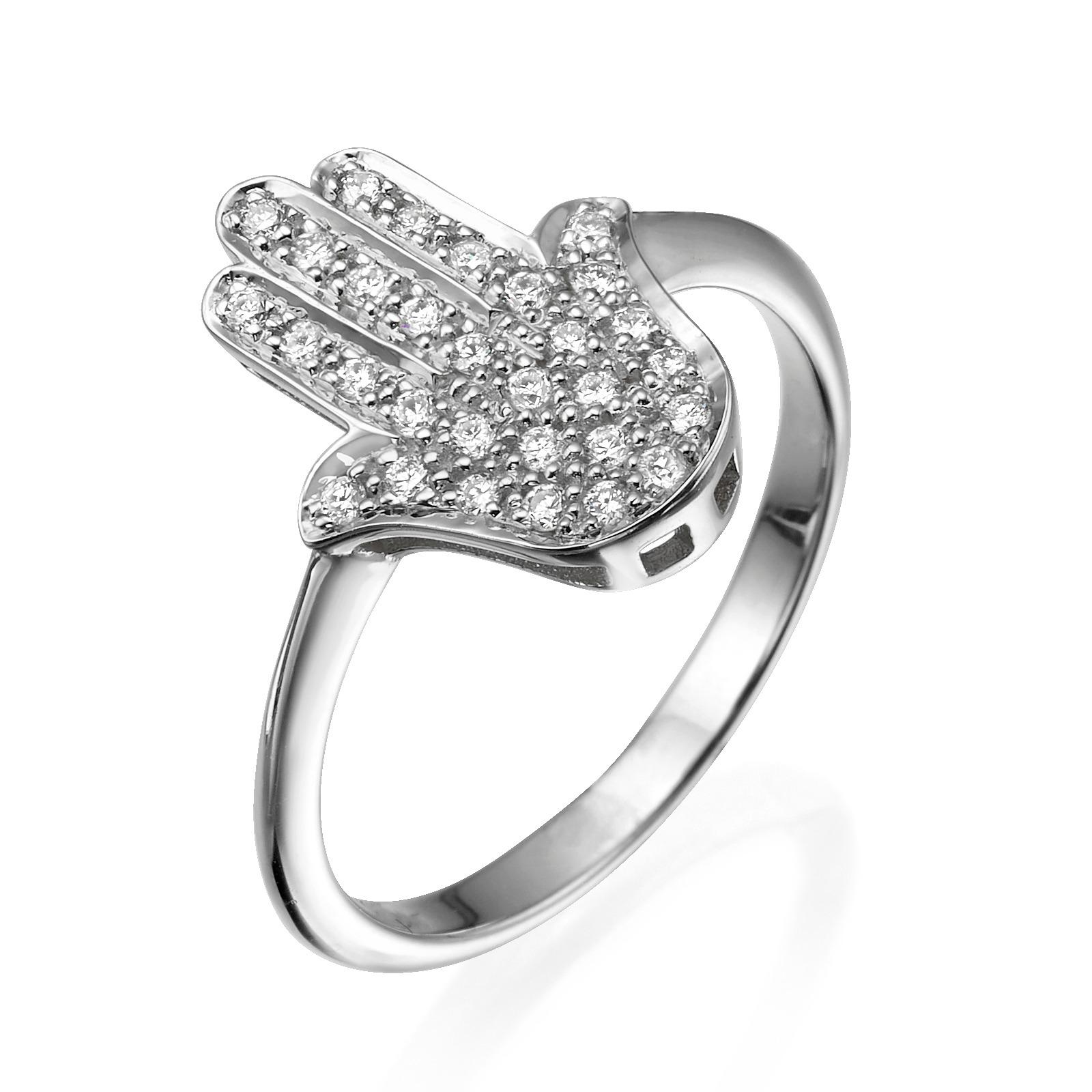 Diamond Studded Large Hamsa Ring 14k Gold 2 - Baltinester Jewelry