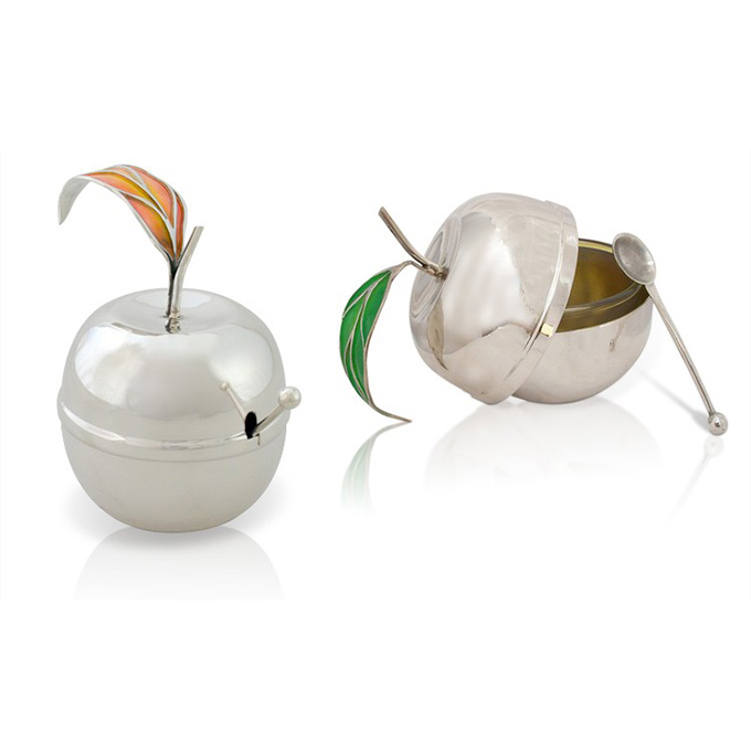 Sterling Silver Apple-Shaped Honey Dish - Baltinester Jewelry