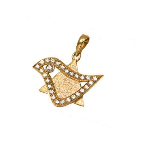 Dove of Peace 18k Gold Diamond Magen David Pendant - Yellow Gold - Baltinester Jewelry