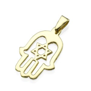 14k Shiny Gold Hamsa Hand Star of David Pendant - Baltinester Jewelry