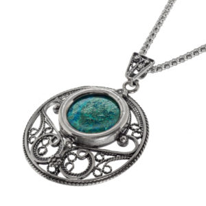 Round Yemenite Style Eilat Stone Silver Necklace - Baltinester Jewelry