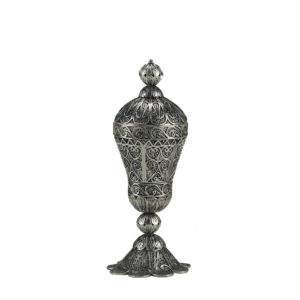 Tall Round Sterling Silver Besamim Holder for Havdala - Baltinester Jewelry