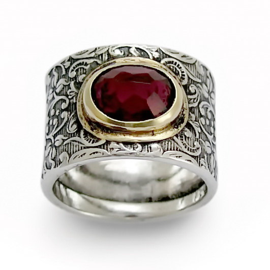 Sterling Silver Garnet Ring with Floral Filigree - Baltinester Jewelry