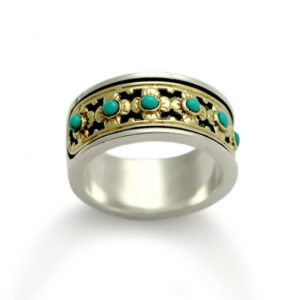 Turquoise Stone Sterling Silver and 9k Gold Floral Ring - Baltinester Jewelry