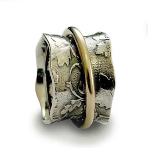 Sterling Silver and Gold Spinner Ring With Floral Filigree - Baltinester Jewelry