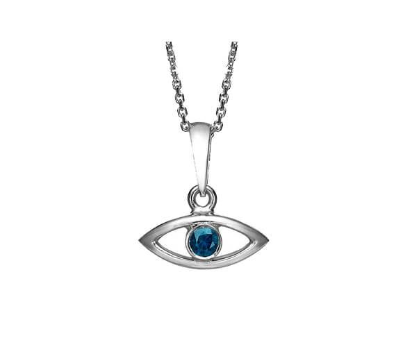 18k Gold Sapphire Evil Eye Pendant - White Gold - Baltinester Jewelry