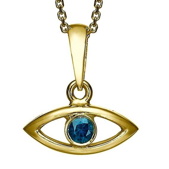 18k Gold Sapphire Evil Eye Pendant - Yellow Gold - Baltinester Jewelry