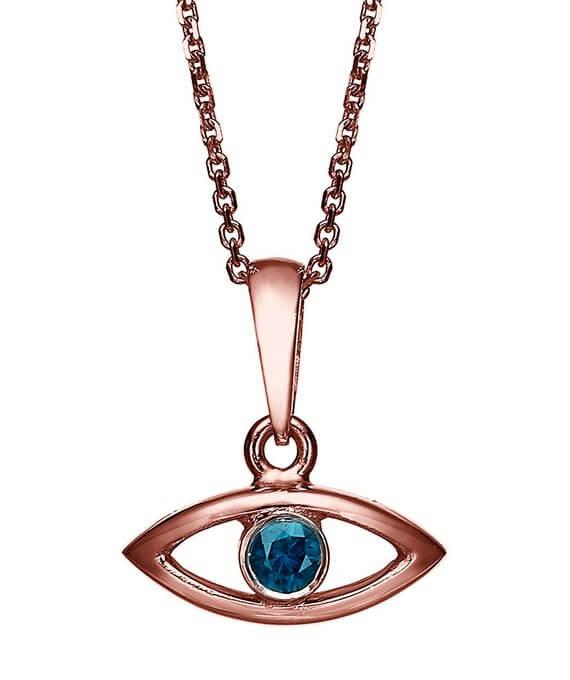 18k Gold Sapphire Evil Eye Pendant - Rose Gold - Baltinester Jewelry