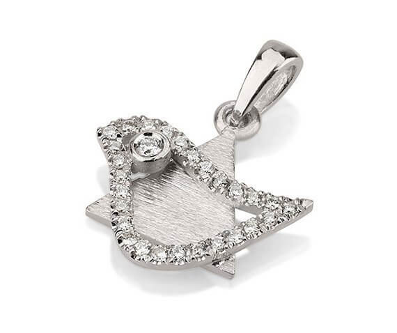 18k Gold Diamond Dove of Peace Magen David Pendant - White Gold - Baltinester Jewelry