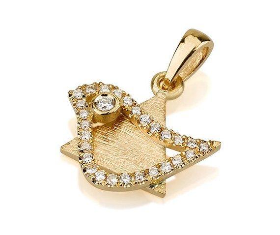 18k Gold Diamond Dove of Peace Magen David Pendant - Yellow Gold - Baltinester Jewelry