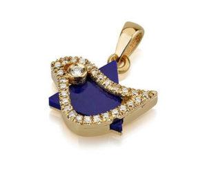 18k Gold Diamond Dove of Peace Star of David Pendant - Baltinester Jewelry