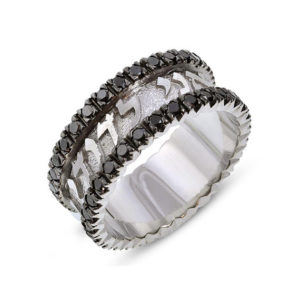 Black Diamonds Ani Ledodi Hebrew Wedding Ring 14k - Baltinester Jewelry