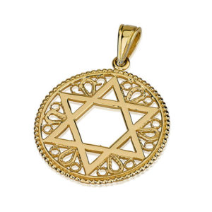 14k Gold Embellished Round Star of David Pendant - Baltinester Jewelry