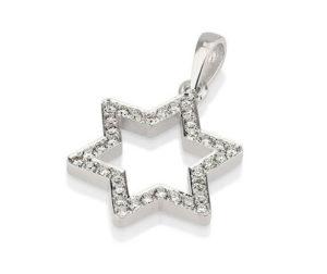 18k Gold Diamond Magen David Pendant - Baltinester Jewelry