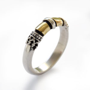 Ethnic Design Sterling Silver and 9k Gold Ring - Baltinester Jewelry